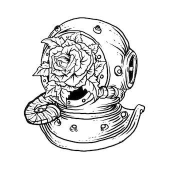 Czarno-białe ręcznie rysowane ilustracji starożytny hełm do nurkowania i róża