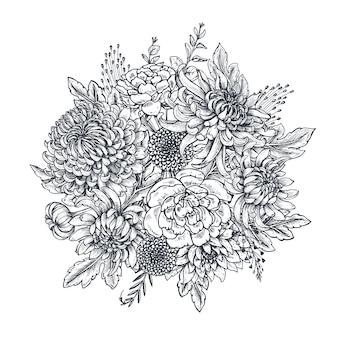 Czarno-białe ręcznie rysowane kwiaty chryzantemy w stylu szkicu piękny kwiatowy tło