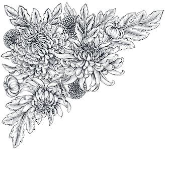 Czarno-białe ręcznie rysowane kwiaty chryzantemy