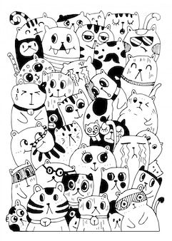 Czarno-białe rysowanie ręczne, gryzmoły w stylu postaci z kotów