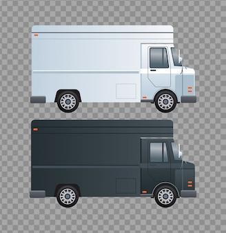 Czarno-białe samochody dostawcze