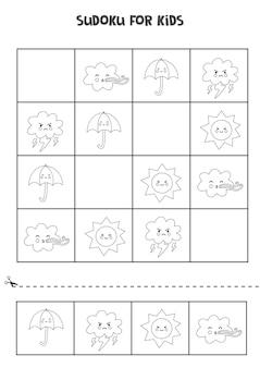 Czarno-białe sudoku dla dzieci w wieku przedszkolnym. gra logiczna z elementami pogody.