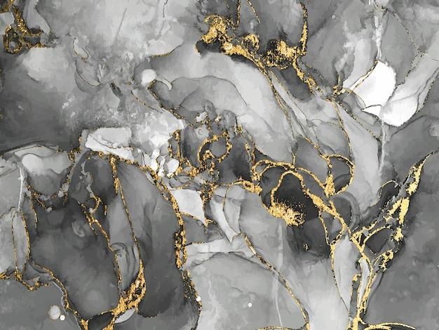 Czarno-białe tło akwarelowe ze złotym brokatem kolor wody alkohol tusz plusk płynny przepływ t ...