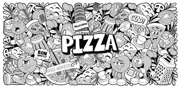Czarno-białe tło doodle dla motywu pizzerii