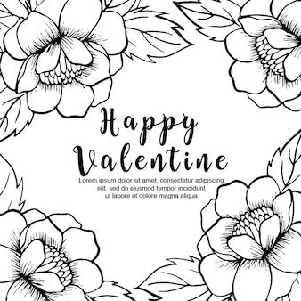 Czarno-białe tło kwiatowy valentine