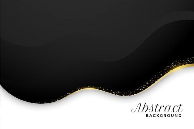 Czarno-białe tło w falistym stylu ze złotym blaskiem
