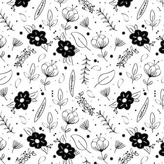 Czarno-białe tło z kwiatami wiosny