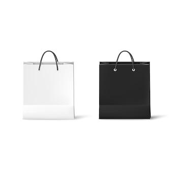 Czarno-białe torby papierowe