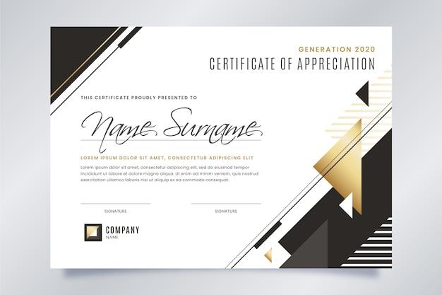 Czarno-biały certyfikat ze złotymi detalami