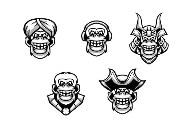 Czarno-biały design głowy yeti