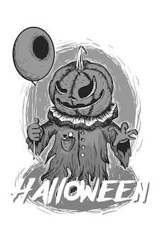 Czarno-biały duch dynia halloween balon potwór maskotka ilustracji wektorowych