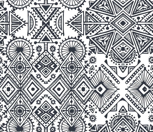 Czarno-biały etniczne plemiennych wzór z ręcznie rysowane elementy. geometryczny nadruk aztec. hipster niekończące się tło.