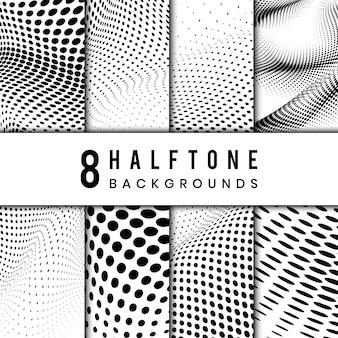Czarno-biały falisty półtonów tło wektor zestaw