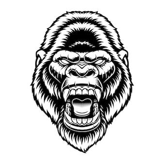 Czarno-biały ilustracja głowy goryla, na białym tle.