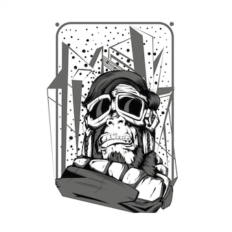 Czarno-biały ilustracja kosmiczna małpa