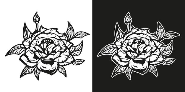 Czarno-biały ilustracja kwiatu róży.