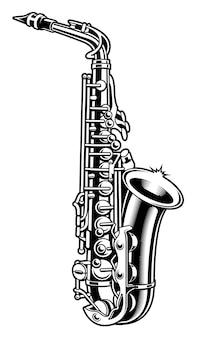 Czarno-biały ilustracja saksofonu na białym tle.