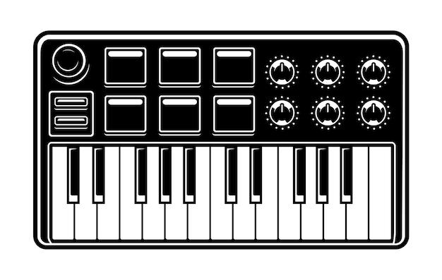 Czarno-biały ilustracja syntezatora na białym tle.