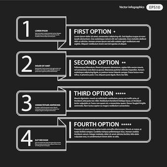 Czarno-biały infographic z opcjami