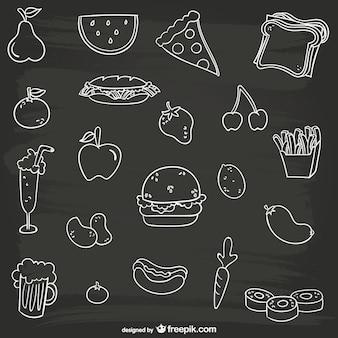 Czarno-biały jedzenie kolekcja