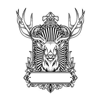 Czarno-biały jeleń w ramce ornament