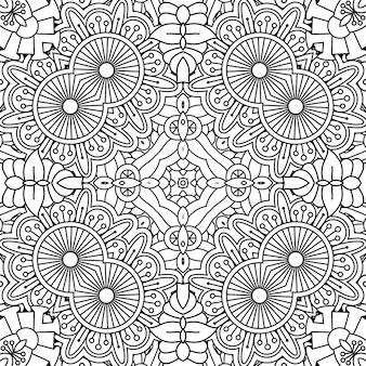 Czarno-biały kontur kwiatowy wzór
