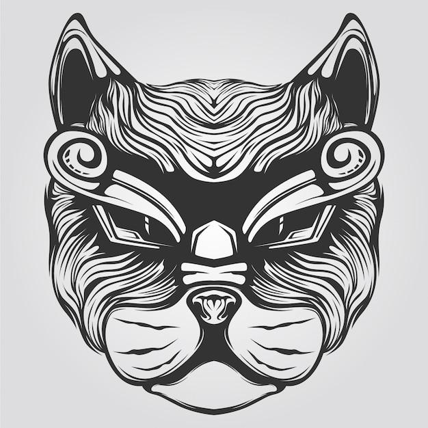 Czarno-biały kot ozdobny lew sztuka
