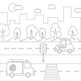 Czarno-biały krajobraz miasta z transportem kreskówek.