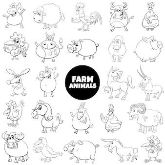 Czarno-biały kreskówka duży zestaw znaków zwierząt gospodarskich