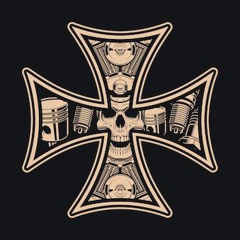 Czarno-biały krzyż rowerzystów, na ciemnym tle. idealny do nadruków na koszulach