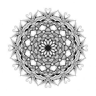 Czarno-biały kwiat mandali