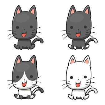 Czarno-biały ładny kot postać z kreskówki