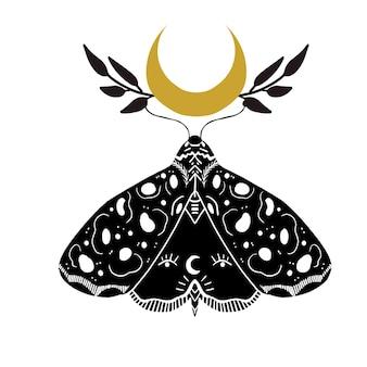 Czarno-biały linoryt w stylu mystic moon. ilustracja wyciągnąć rękę