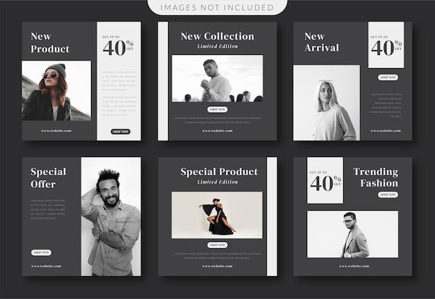 Czarno-biały minimalistyczny szablon mediów społecznościowych mody