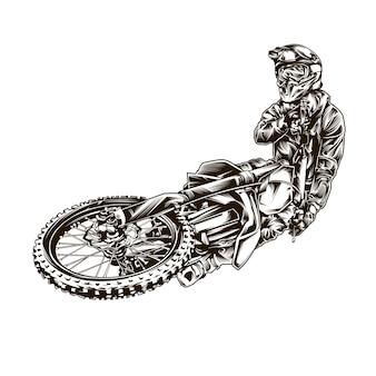 Czarno-biały motocross