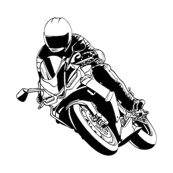Czarno-biały motocyklista