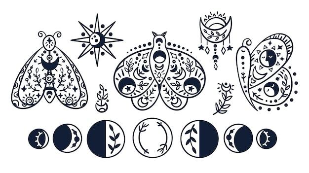 Czarno-biały motyl niebieski, ćma, fazy księżyca. ręcznie rysowane owady, słońce, gwiazdy i księżyc.