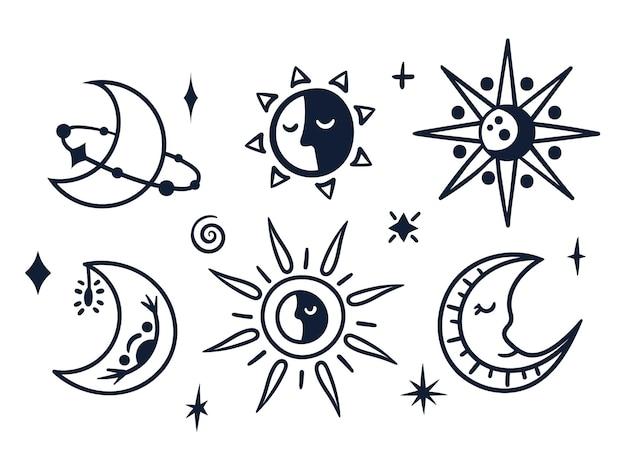 Czarno biały niebiański księżyc i słońce boho ręcznie rysowane linie mistyczne symbole na białym tle