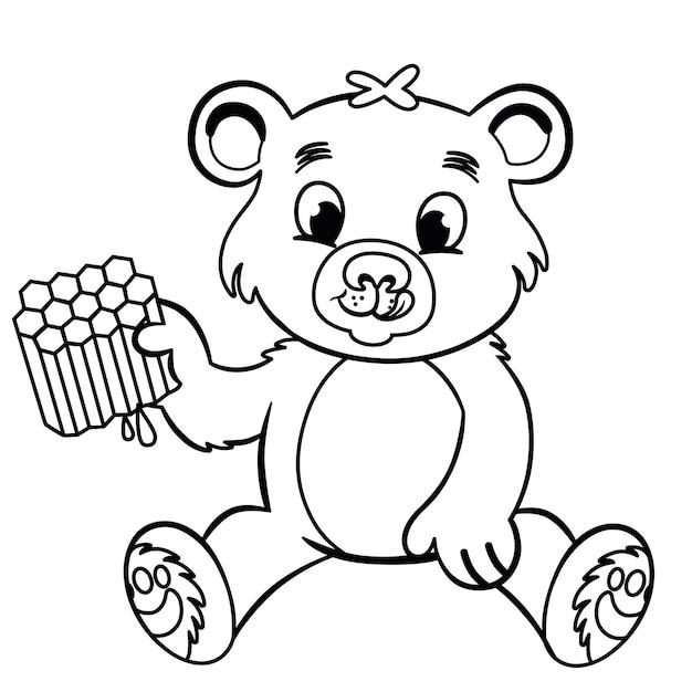 Czarno-biały niedźwiedź jedzący miód