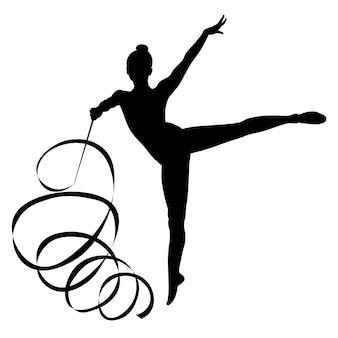 Czarno-biały obraz sylwetki postaci sportowców gimnastyki