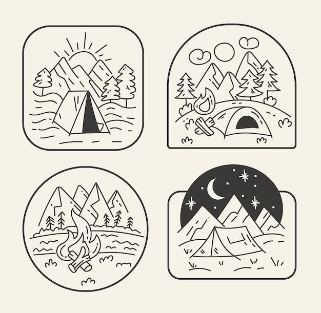 Czarno-biały podróż leśna odznaka linii zarys styl sztuki na białym tle zestaw