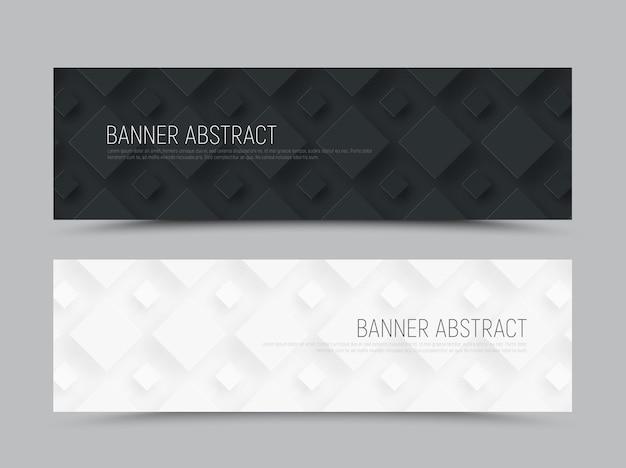 Czarno-biały poziomy baner internetowy w minimalistycznym stylu z rombem różnej wielkości w tle.