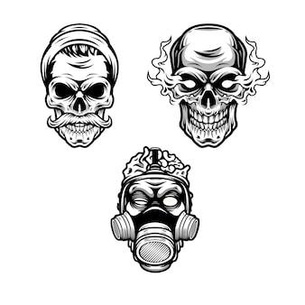 Czarno-biały projekt czaszki