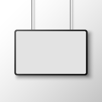 Czarno-biały prostokątny plakat na białej ścianie. transparent. ilustracja.