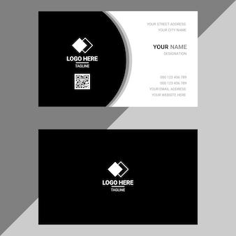 Czarno-biały prosty szablon projektu wizytówki