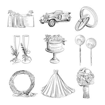 Czarno-biały ręcznie rysowane akwarela zestaw ślubny.