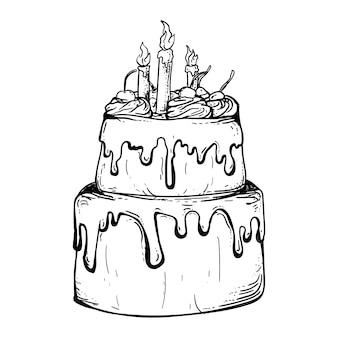 Czarno-biały ręcznie rysowane ilustracja projekt tort urodzinowy