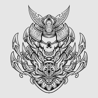 Czarno-biały ręcznie rysowane ornament do grawerowania czaszki samuraja