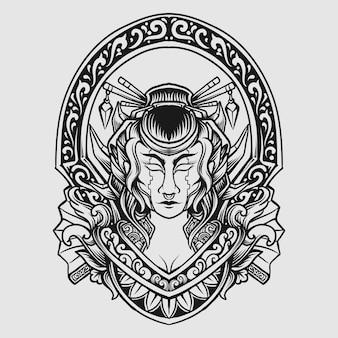 Czarno-biały ręcznie rysowane ornament do grawerowania mecha gejszy