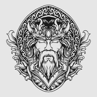 Czarno-biały ręcznie rysowane ornament grawerujący bogów zeusa